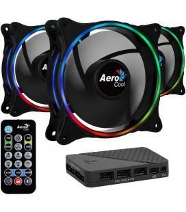 Pack 3 ventiladores aerocool eclipse 12 pro + h66f hub + mando a distancia - 1200rpm - iluminación rgb - 19.8dba - cojinete