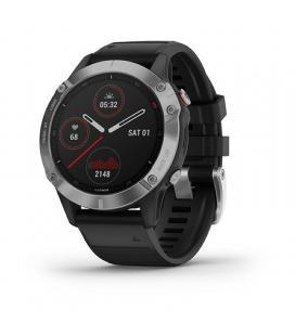 Reloj deportivo con gps garmin fénix 6 plata/negro con correa negra - carcasa 47mm - multisport - frecuencia cardiaca -
