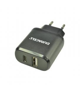 Pack cargador dual de pared + cable usb tipo-c duracell dmac17-eu - 1*usb - 1*usb tipo-c - 5v - 3a
