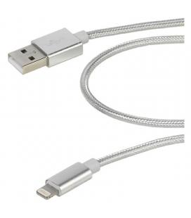 Cable lightning vivanco 37566 plata - conectores usb-a a lightning - mallado nailon - 1.5m