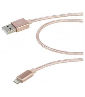 Cable lightning vivanco 37567 rosa - conectores usb-a a lightning - mallado nailon - 1.5m