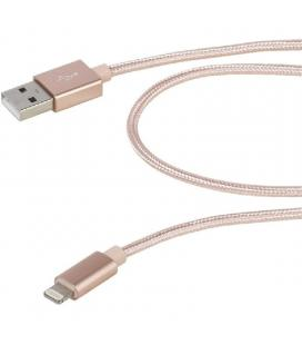 Cable usb lightning vivanco 38309 rosa - conectores usb-a macho a lightning - funda nylon - carga y datos - 2.5m