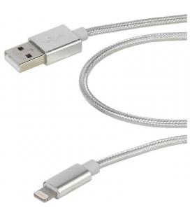 Cable usb lightning vivanco 38308 plata - conectores usb-a macho a lightning - funda nylon - carga y datos - 2.5m