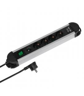Regleta vivanco 37658 professional - 4 tomas schuko - 2 puertos usb (5v/2.1a) - interruptor on/off - 16a / 3680w - cable 1.6m