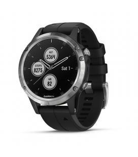 Reloj deportivo con gps garmin fénix 5 plus plata con correa negra - carcasa 47mm - multisport - frecuencia cardiaca -
