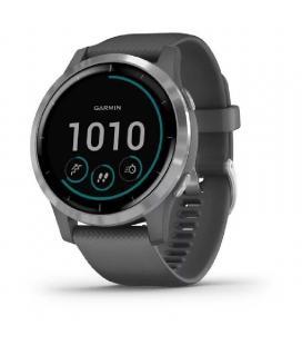 Reloj deportivo con gps garmin vivoactive 4 gris con hebilla plateada - carcasa 45mm - multisport - garmin pay - notificaciones