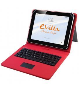 Funda con teclado e-vitta keytab roja - para tablet de 9.7/10.1'-24.6/25.65cm - conector microusb - 64 teclas - compatible