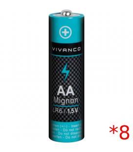 Pack 8 pilas vivanco 38027 - aa - 1.5v
