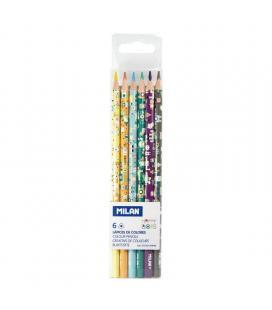 Caja 6 unidades de lápices colores milán happy bots - mina 2.9mm - forma triangular ergonómica - colores surtidos