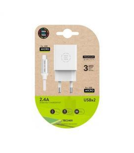CARGADOR DOBLE + CABLE MICRO USB TECH ONE TECH