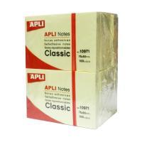 Notas adhesivas apli - pack de 12 uds - bloc de 100 hojas - amarillo - 50 x 75mm