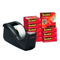 Pack ahorro 10 unidades de cinta adhesiva supertransparente crystal 19mm x 33m y dispensador c60 negro scotch