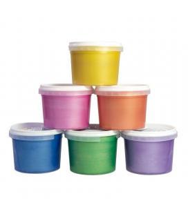 Caja 6 tarros pintura para dedos milán 353906 - 100ml - colores metalizados