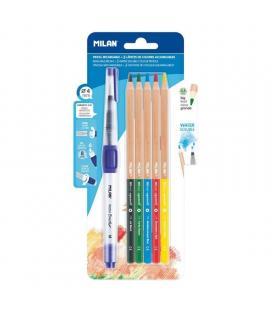 Blister pincel recargable milán water brush - diámetro 4mm - deposito recargable 8ml + 5 lápices acuarelables mina gruesa 3.5mm