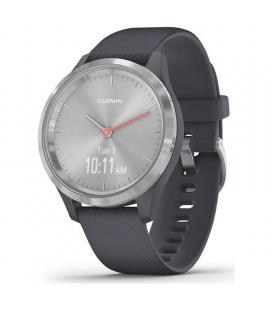 Reloj inteligente con gps garmin vivomove 3s color plata con correa azul - 39mm - pantalla táctil - bt - 5atm - multisport -