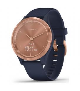 Reloj inteligente con gps garmin vivomove 3s color rose gold con correa azul - 39mm - pantalla táctil - bt - 5atm - multisport