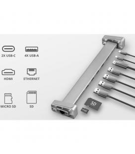Hub / base multipuerto trust dalyx aluminium - 1 conector usb tipo-c provee hdmi / lan gigabit / lector micro/sd / 4+usb-a /