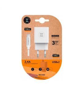 CARGADOR DOBLE CABLE USB-C TECH ONE TECH BLANCO
