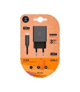 CARGADOR DOBLE CABLE USB-C TECH ONE TECH NEGRO