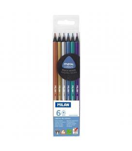Caja 6 unidades de lápices milán 7102306 - mina 2.9mm - forma triangular ergonómica - colores metalizados