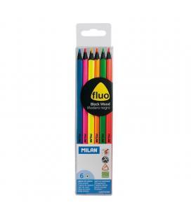 Caja 6 unidades de lápices colores milán 752306 - mina 2.9mm - forma triangular ergonómica - colores fluorescentes