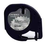 Cinta rotuladora metalizada autoadhesiva dymo 12mm x 4 metros de longitud para rotuladoras letratag