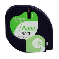 Cinta rotuladora autoadhesiva dymo papel blanco 12mm x 4 metros - para rotuladoras letratag