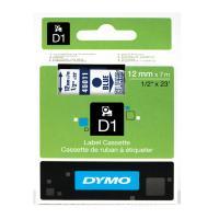 Cinta rotuladora autoadhesiva dymo d1 12mm x 7 metros de longitud para rotuladoras label manager, azul sobre transparente