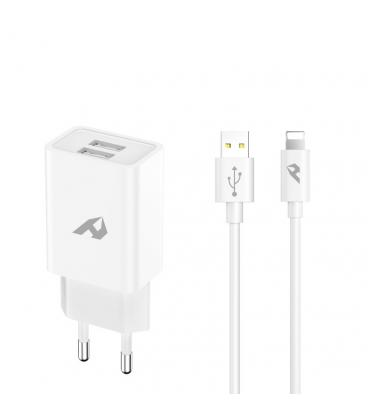 ADAPTADOR DE RED ENJOY USB 2 USB X 5V/24A CON CABLE LIGHTNING BLANCO - Imagen 1