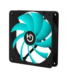 Ventilador hiditec vgch10002 - 120mm - ventilador 7 aspas color turquesa - conector molex - silencioso - esquinas con soporte