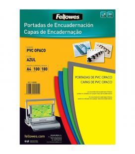 Pack de 100 portadas de pvc opaco fellowes 5100601 - tamaño a4 - 180 micras - flexible - color azul - Imagen 1