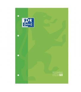 Recambio oxford classic color 1 verde manzana - cuaderno a4/a4+ - 80 hojas - 90 gramos - 4 taladros - cuadricula 5*5 enmarcado -