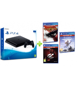 CONSOLA SONY PLAYSTATION 4 SLIM 1TB + GOD OF WAR III REMASTERIZADO + GRAN TURISMO SPORT + HORIZON ZERO DAWN
