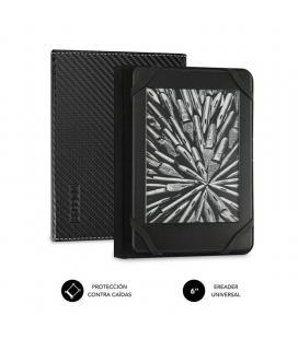 Funda subblim clever ebook para e-reader 6'/15.24cm black - material exterior símil fibra de carbono - cierre mediante solapa -