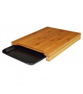 Tabla de cortar jocca 1635 - plástico y bambú - incluye bandeja para depositar los productos - Imagen 1