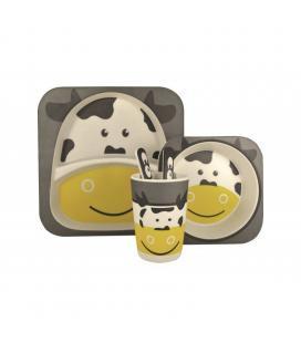 Vajilla infantil vaca jocca 1740 - fibra de bambu - 2 platos (21.3/14.1cm) - vaso - cuchara - tenedor - Imagen 1