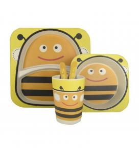 Vajilla infantil abeja jocca 1740a - fibra de bambu - 2 platos (21.3/14.1cm) - vaso - cuchara - tenedor - Imagen 1