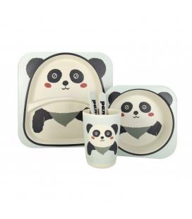 Vajilla infantil panda jocca 1740p - fibra de bambu - 2 platos (21.3/14.1cm) - vaso - cuchara - tenedor - Imagen 1