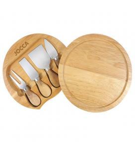 Set de tabla y cuchillos para queso jocca 5182 - diámetro 20cm - 4 cuchillos acero inox. - Imagen 1