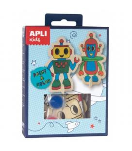 Mini kit manualidades apli kids robot - incluye 2 figuras de madera con forma de robot / 4 botes témpera / 1 pincel / 1 paleta