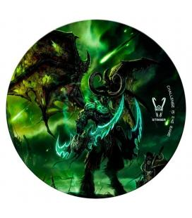 Alfombra gaming woxter stinger floorpad verde - diámetro 120cm - microfibra con base caucho - lavable - Imagen 1