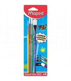 Set 4 pinceles maped color'peps 867810 - 3 redondos / 1 plano - mangos madera de colores