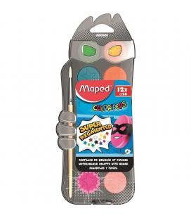 Estuche 12 acuarelas + pincel maped color'peps 811520 - diámetro 30mm - pincel simétrico - lavado fácil