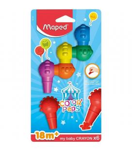 Estuche 6 ceras para colorear maped color'peps 863106 my baby crayons - forma lúdica - a partir de 18 meses