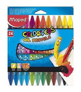 Estuche 24 ceras blandas maped color'peps 864012 - colores brillantes