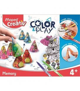 Juego de memoria maped color&play memory - incluye 9 pares conos / 3 hojas pegatinas / 12 rotuladores jungle / 18 tapas conos