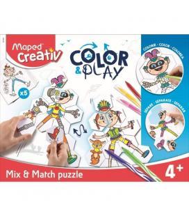 Rompecabezas maped color&play mix&match - 55 piezas - colorea 5 personajes