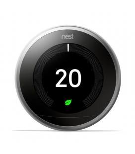 Termostato google nest learning 3ª generación t3028it acero inoxidable - 6 sensores - controla donde estés - bat.recargable