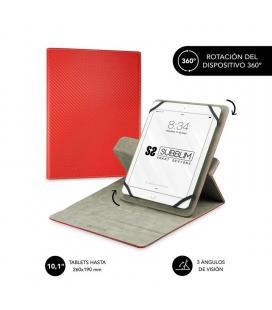 Funda universal subblim rotate 360º para tablet hasta 10.1'/25.6cm red - rotación 360º - interior aterciopelado - sistema