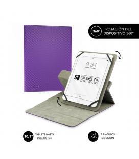 Funda universal subblim rotate 360º para tablet hasta 10.1'/25.6cm purple - rotación 360º - interior aterciopelado - sistema